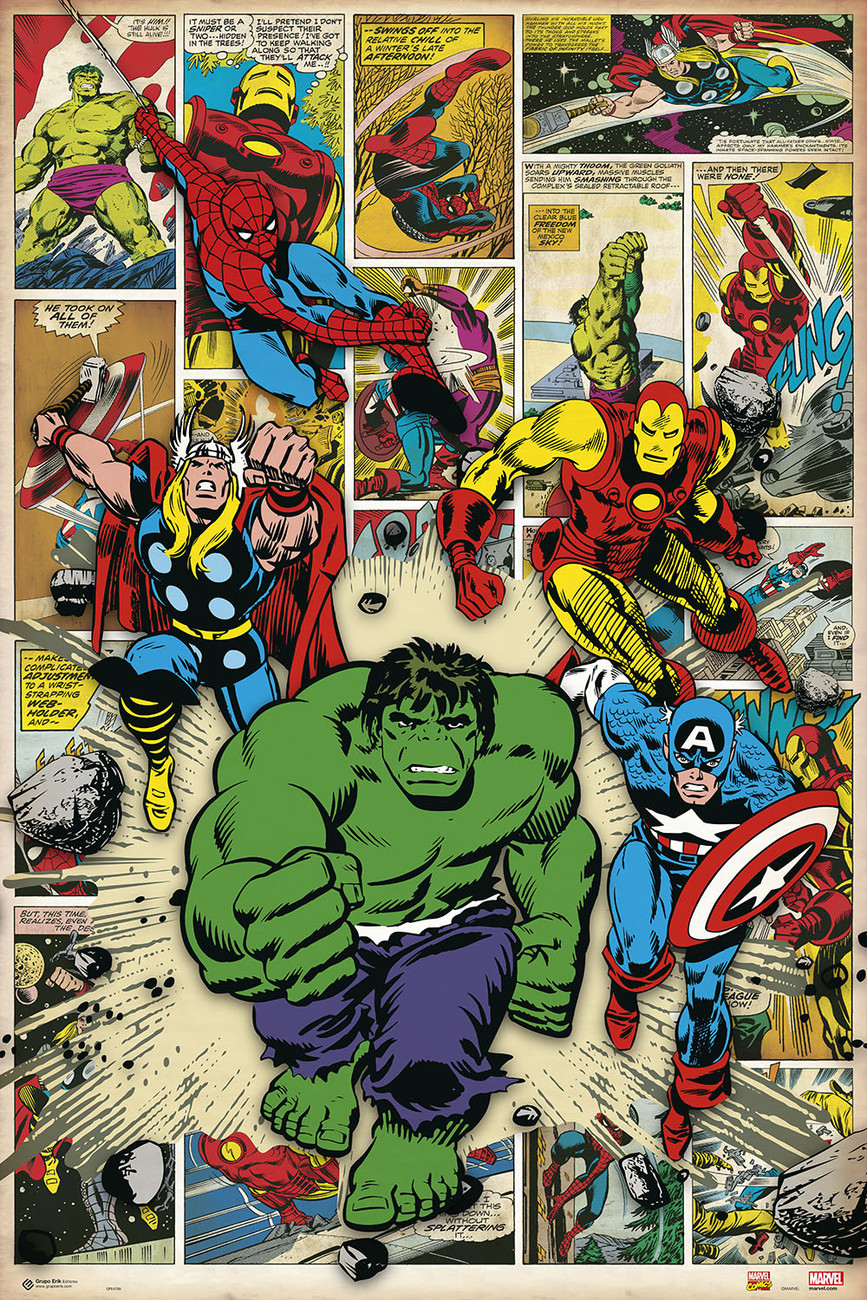 marvel comic here come the heroes poster sold at. Black Bedroom Furniture Sets. Home Design Ideas