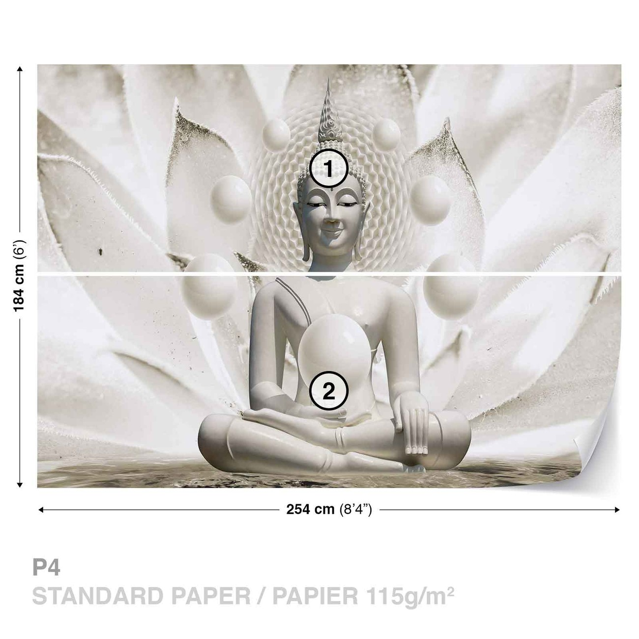 Buddha zen spheres flower 3d wall paper mural buy at for Poster mural geant zen