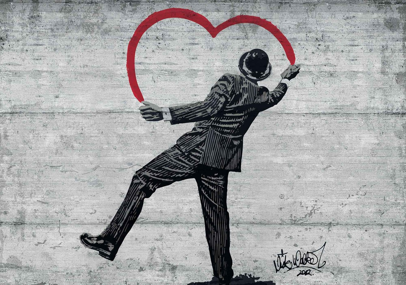 Wall Stickers Banksy Banksy Graffiti Concrete Wall Wall Paper Mural Buy At