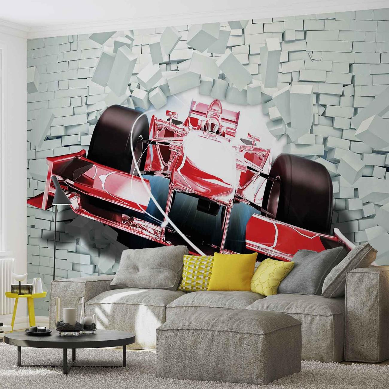 Formula 1 racing car bricks wall paper mural buy at for Cars movie wall mural