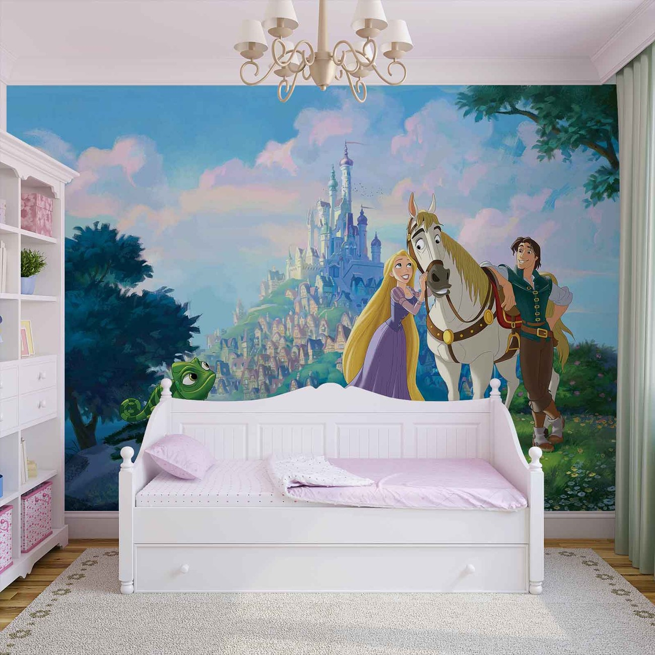Disney princesses rapunzel wall paper mural buy at for Disney princess wall mural tesco