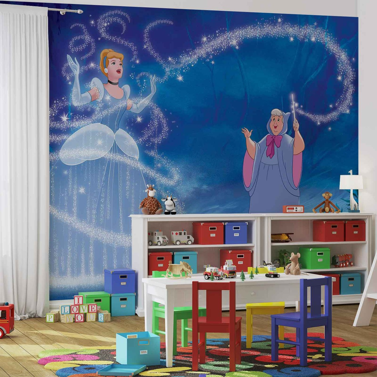 Disney princesses cinderella wall paper mural buy at for Disney princess mural asda