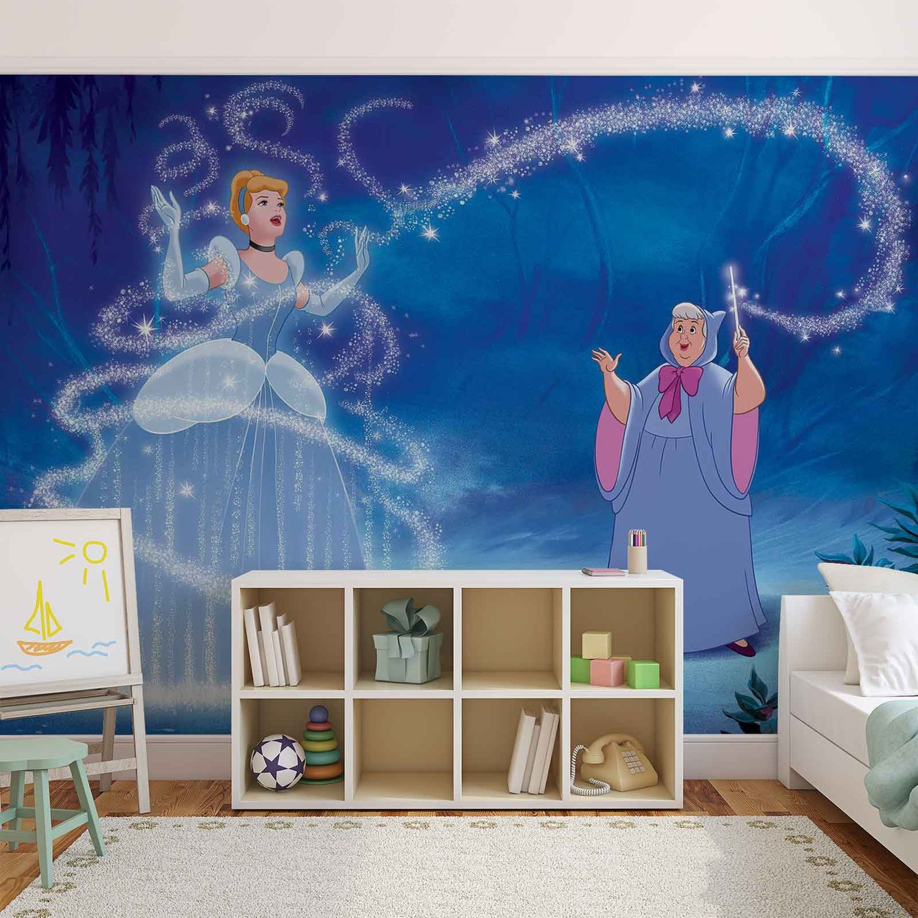Disney princesses cinderella wall paper mural buy at for Disney princess wallpaper mural uk