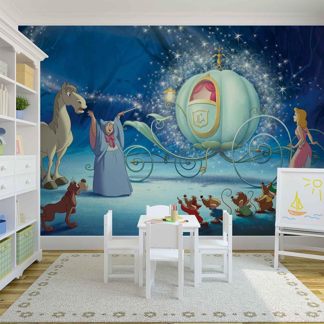 Disney princesses cinderella wall paper mural buy at for Disney wall mural
