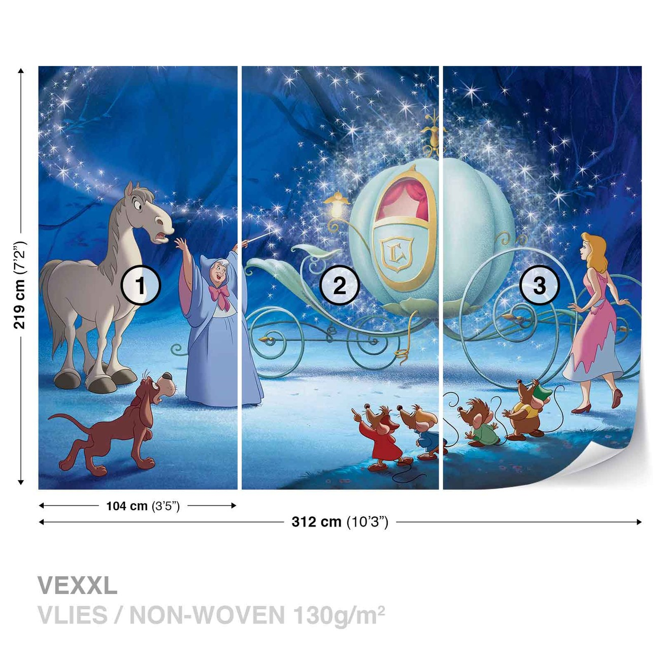 Disney princesses cinderella wall paper mural buy at for Disney princess wall mural tesco
