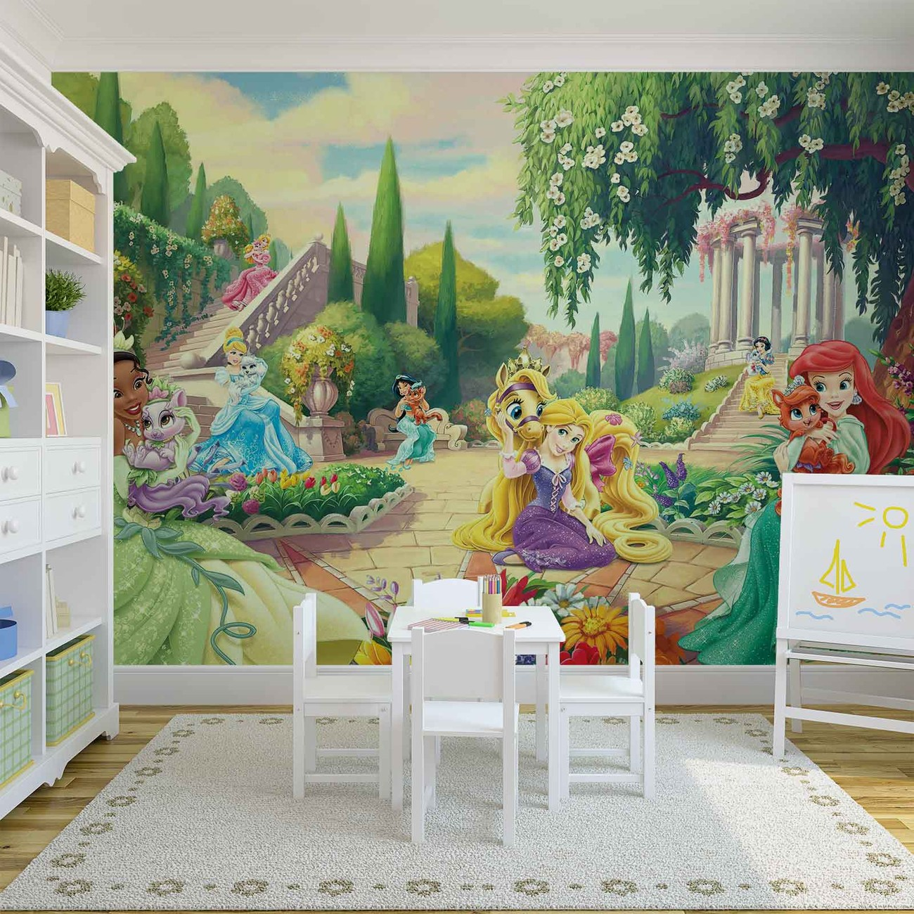 Disney princesses tiana ariel aurora wall paper mural for Disney princess wall mural tesco
