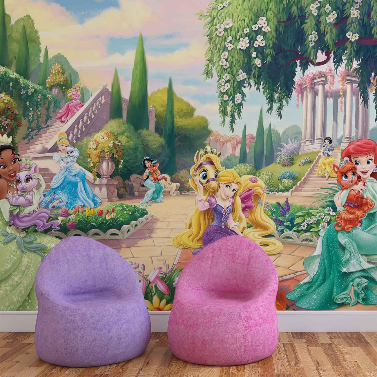 Disney princesses tiana ariel aurora wall paper mural for Disney princess mini mural