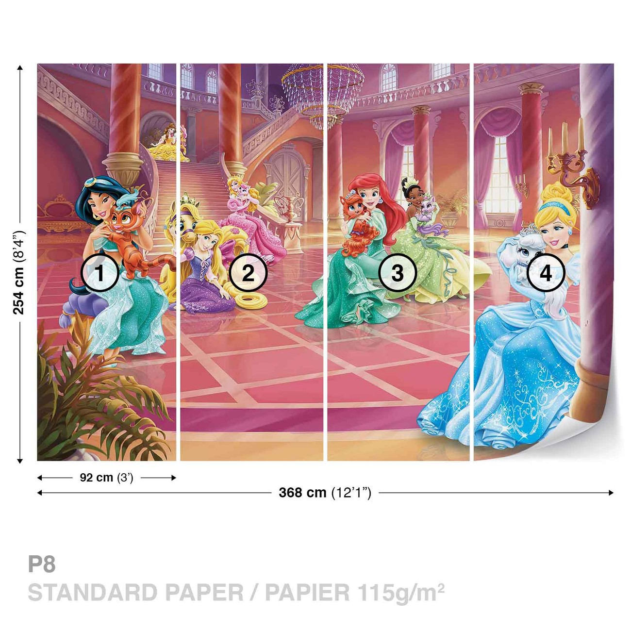 Disney princesses cinderella jasmine wall paper mural for Disney princess wall mural tesco