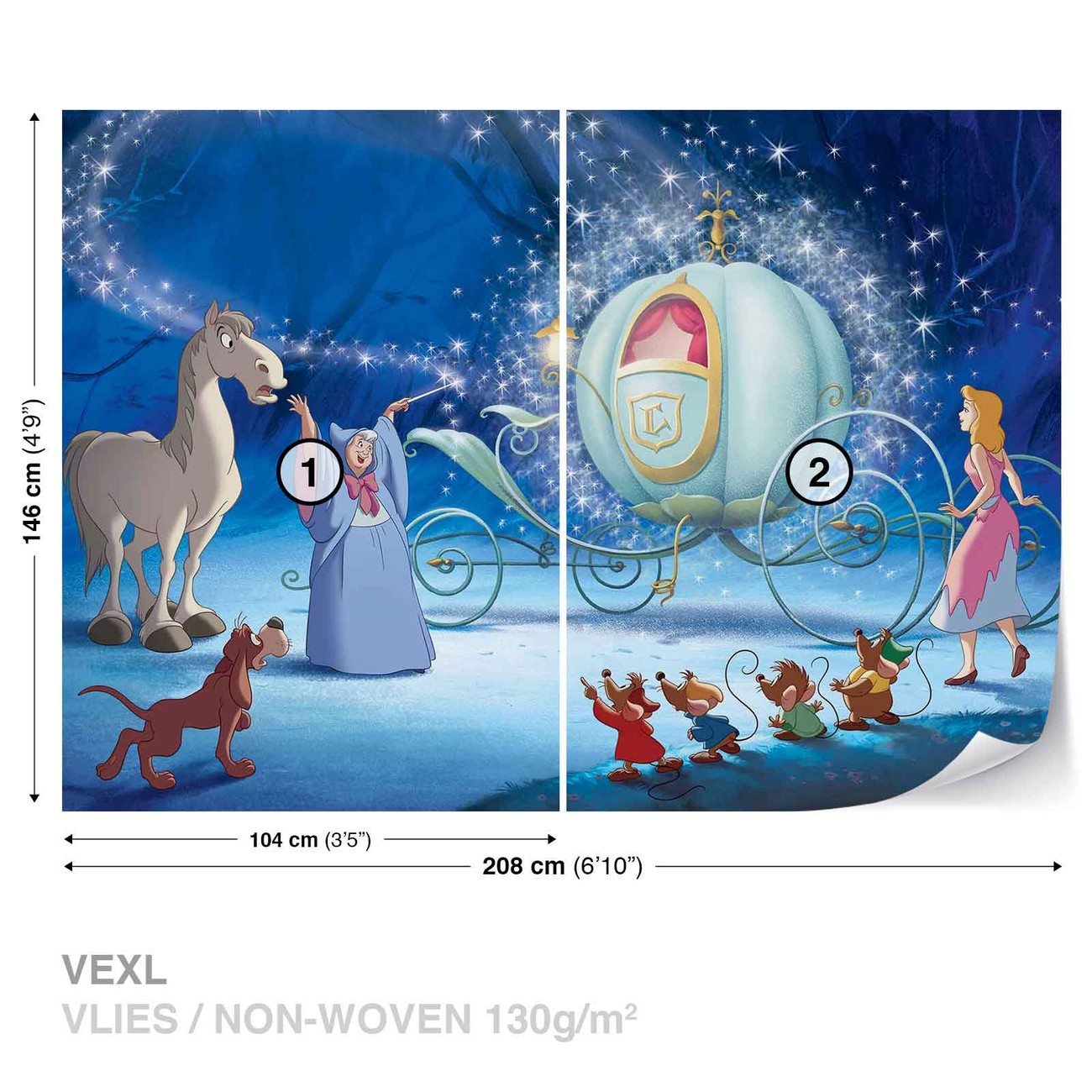 Disney princesses cinderella wall paper mural buy at for Disney princess mini mural