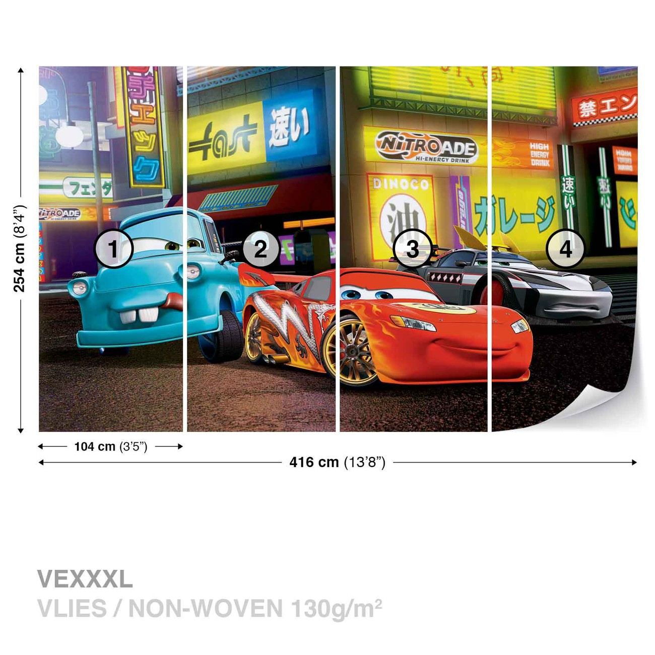 Disney cars lightning mcqueen wall paper mural buy at for Disney cars wall mural