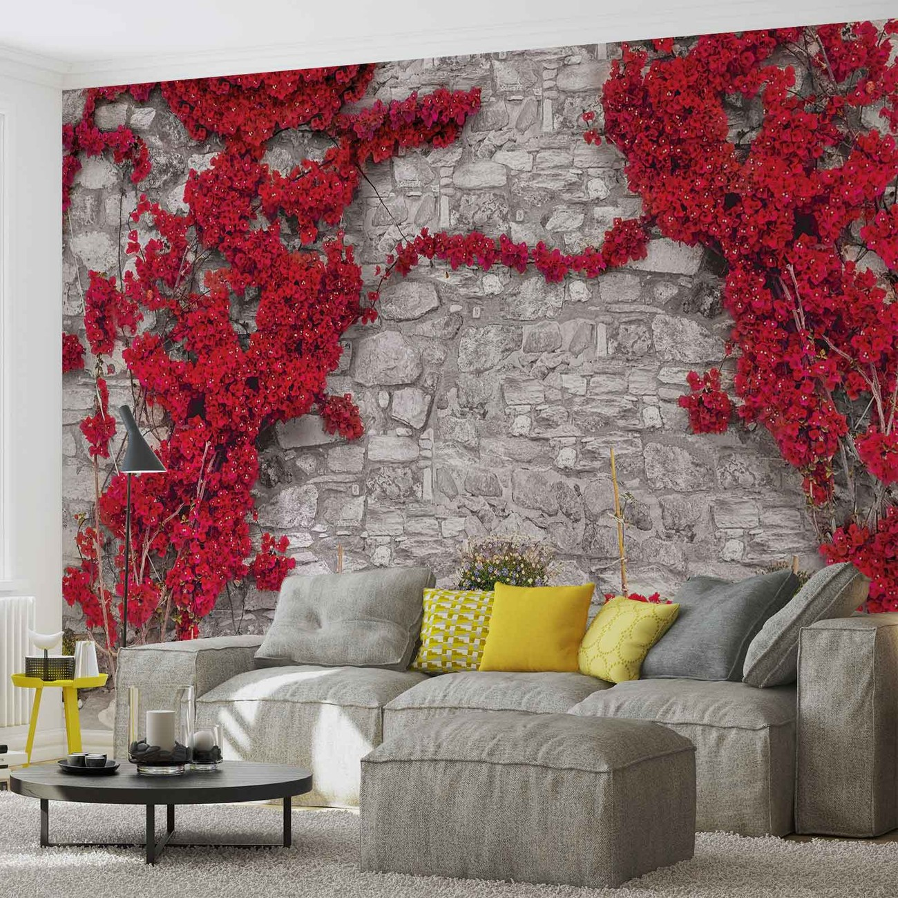 red flowers stone wall wall paper mural buy at europosters. Black Bedroom Furniture Sets. Home Design Ideas