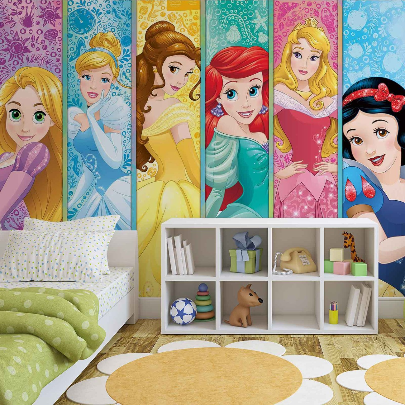 Disney princesses aurora belle ariel wall paper mural for Disney princess mural asda