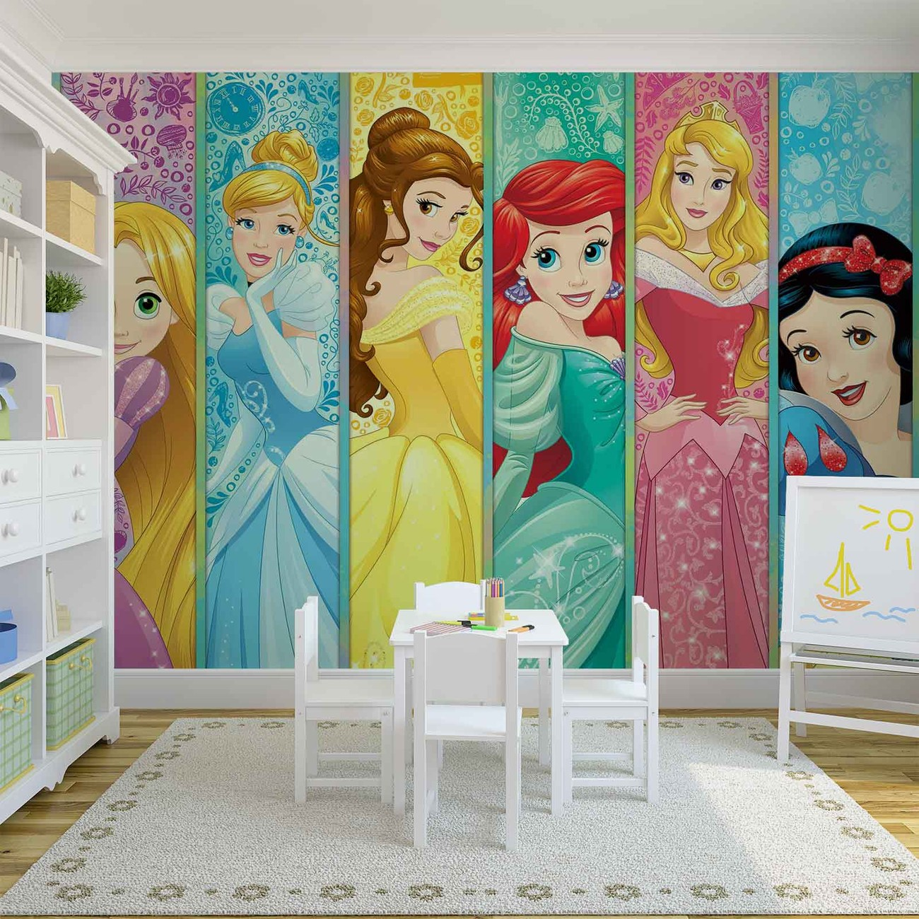 Disney princesses aurora belle ariel wall paper mural for Disney ariel wall mural