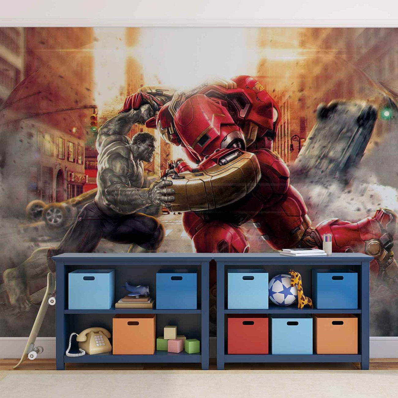 Marvel avengers fighting allies wall paper mural buy at for Avengers wall mural uk