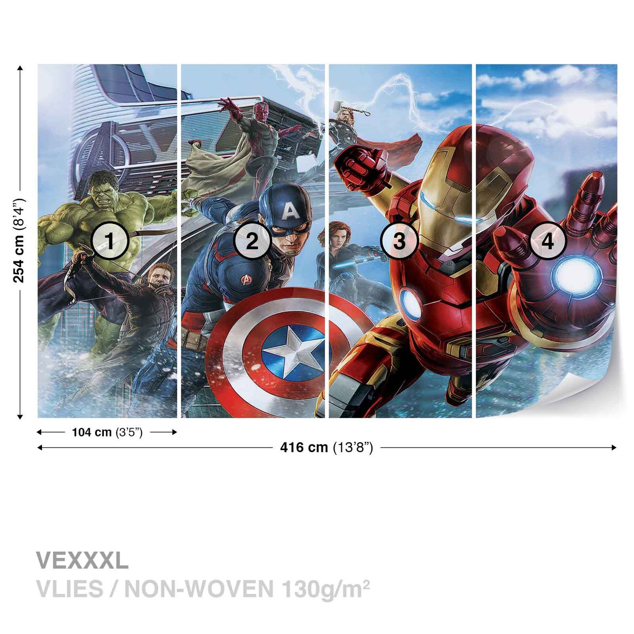 Marvel avengers team wall paper mural buy at europosters for Avengers mural poster