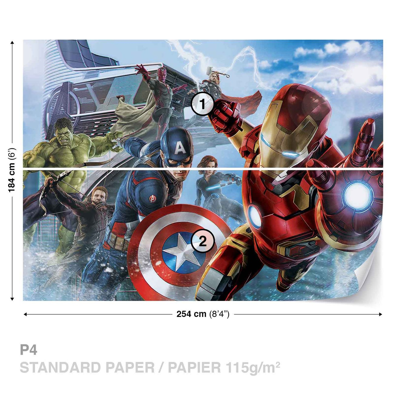 Marvel avengers team wall paper mural buy at for Avengers mural poster