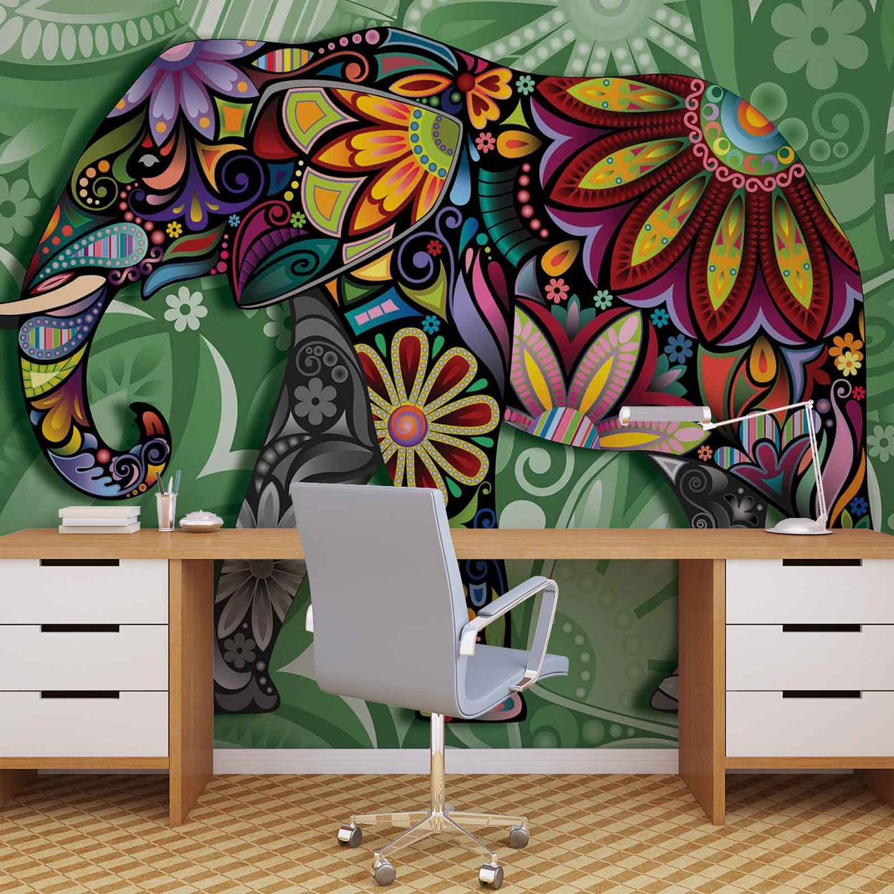 Elephant flowers abstract colours wall paper mural buy for Elephant wall mural
