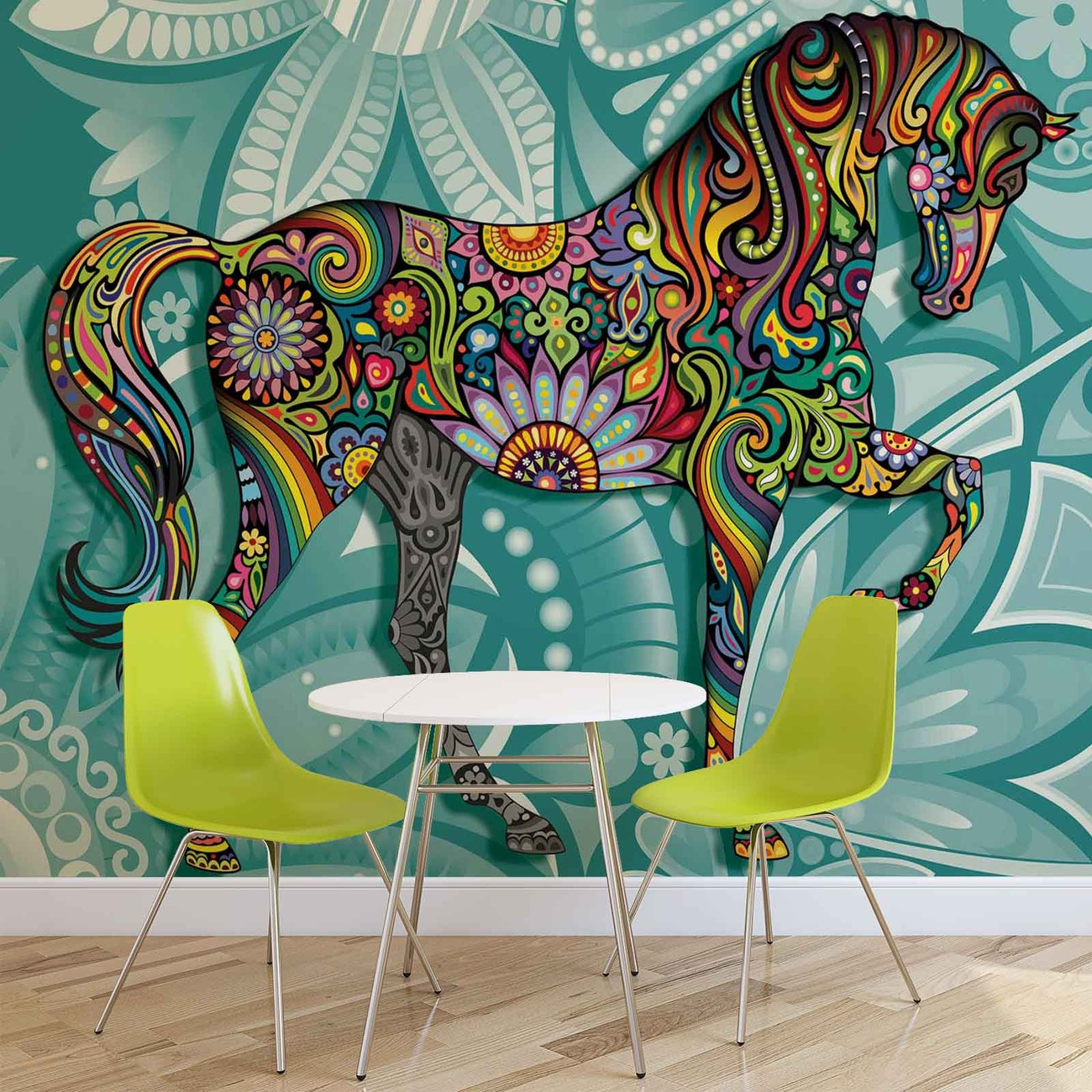 Horse flowers abstract colours wall paper mural buy at for Equestrian wall mural