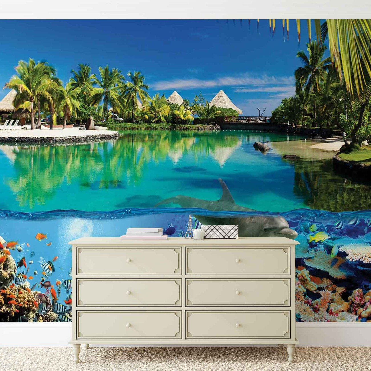 Island paradise with corals dolphin wall paper mural buy for Dolphin paradise wall mural