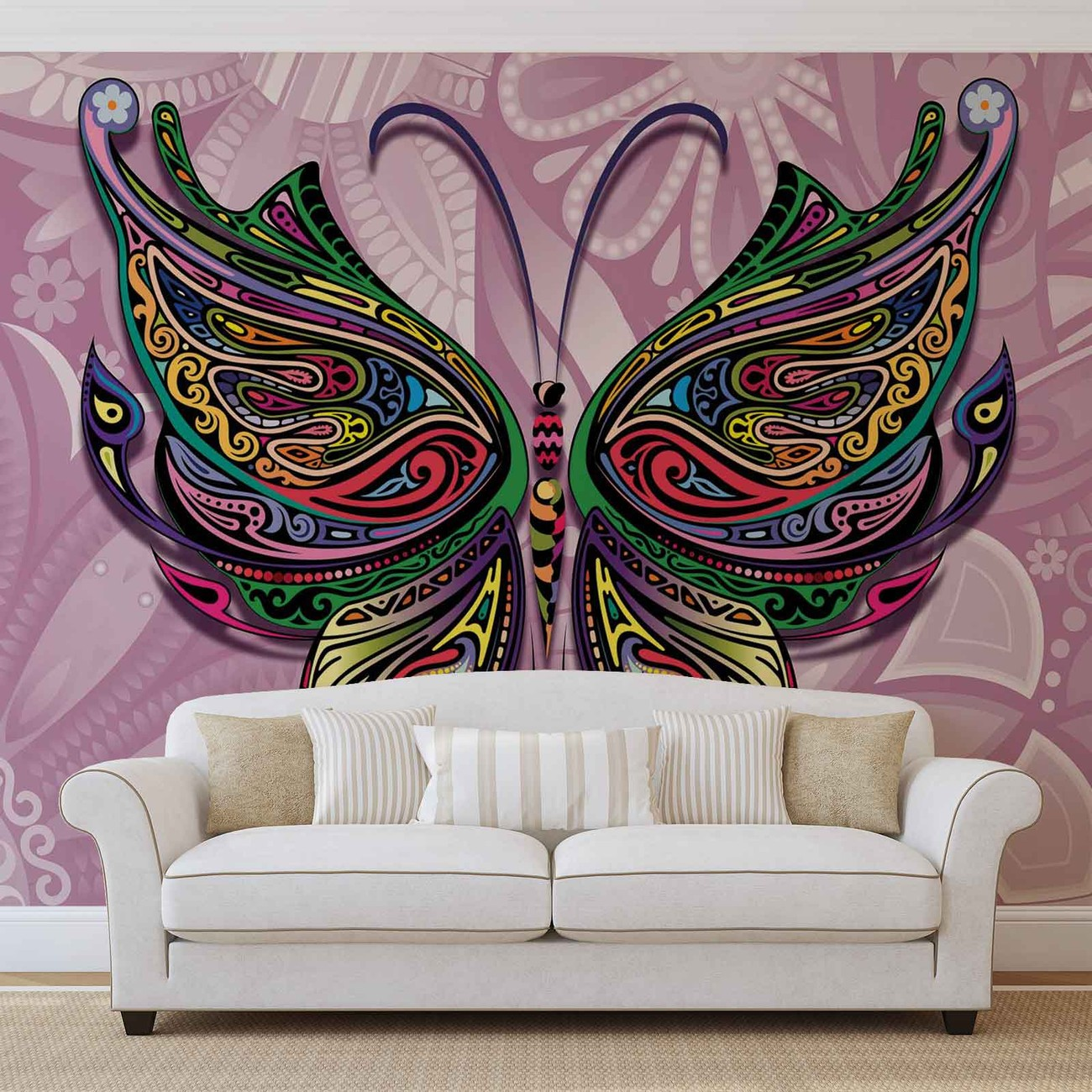 Butterfly flowers abstract colours wall paper mural buy for Butterfly wall mural