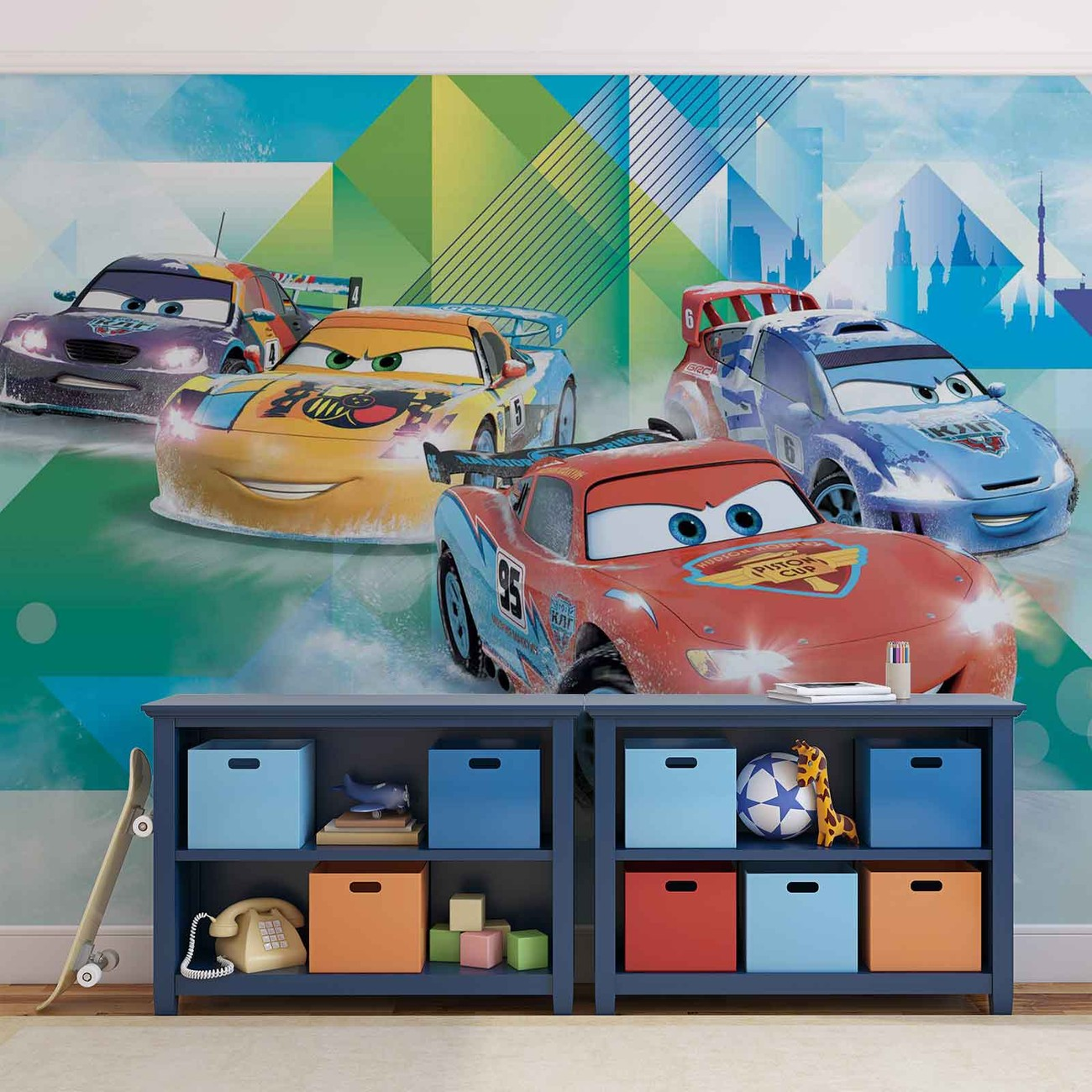 Disney cars lightning mcqueen camino wall paper mural for Cars movie wall mural