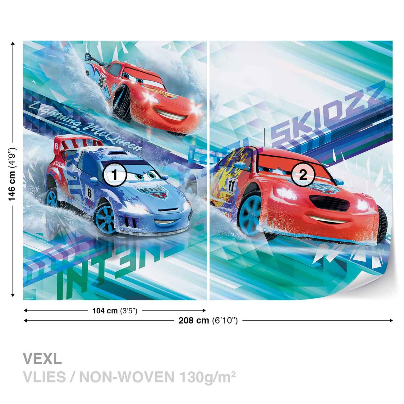 Disney cars raoul aroule mcqueen wall paper mural buy for Disney cars wall mural uk