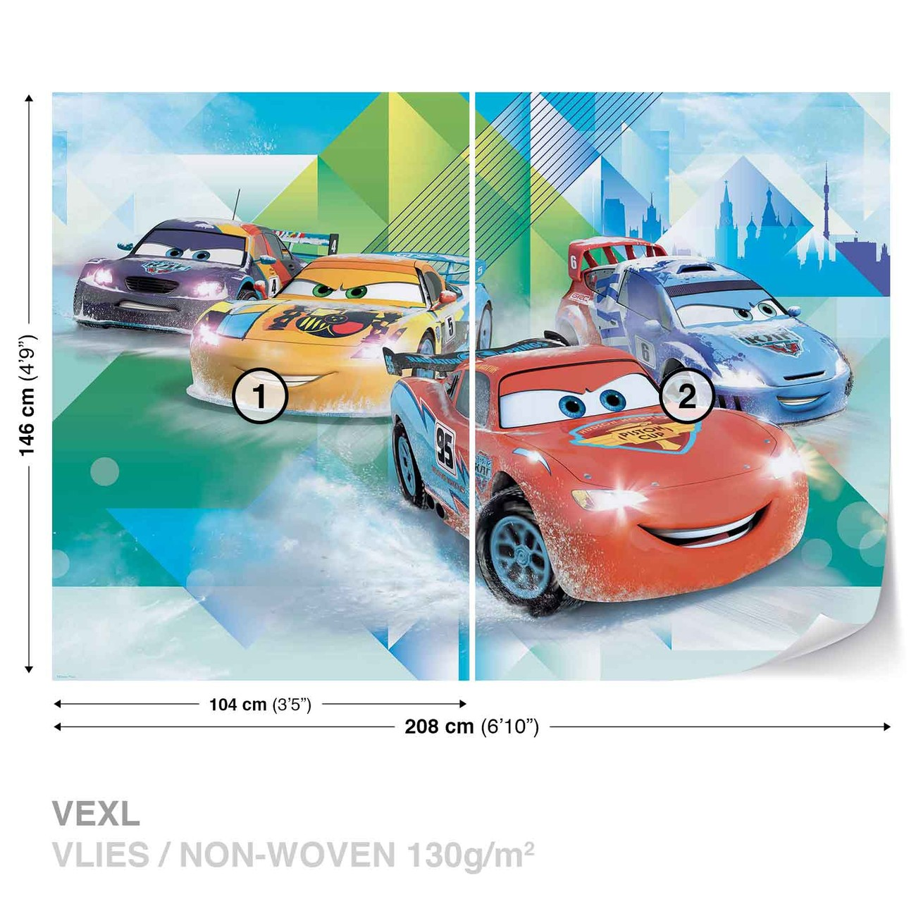 Disney cars lightning mcqueen camino wall paper mural for Disney cars wall mural uk