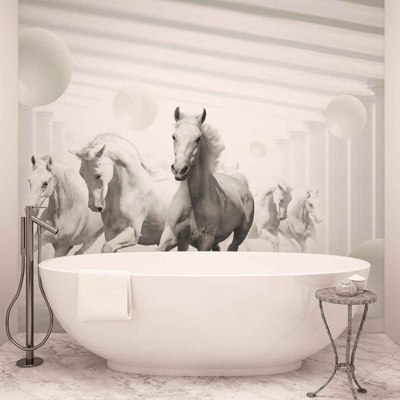 Horses White Spheres Wall Paper Mural Buy At Europosters