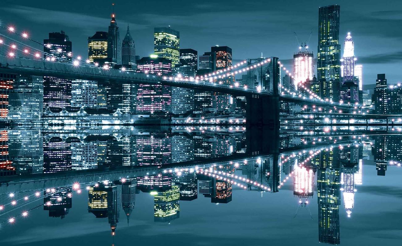 New York City Skyline Brooklyn Bridge Wall Paper Mural   Buy at ...