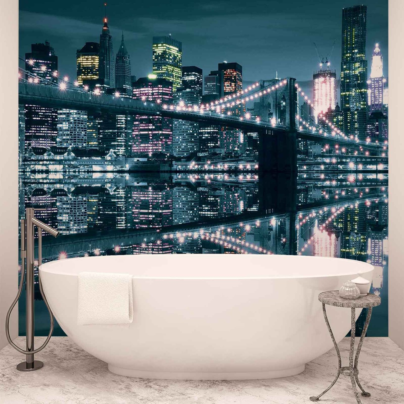 New york city skyline brooklyn bridge wall paper mural for Acheter poster mural new york