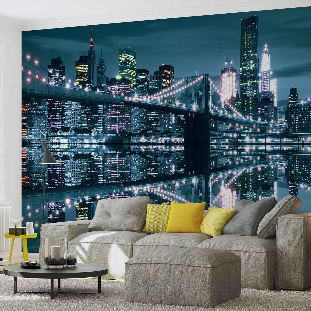 new york city skyline brooklyn bridge wall paper mural buy at europosters. Black Bedroom Furniture Sets. Home Design Ideas
