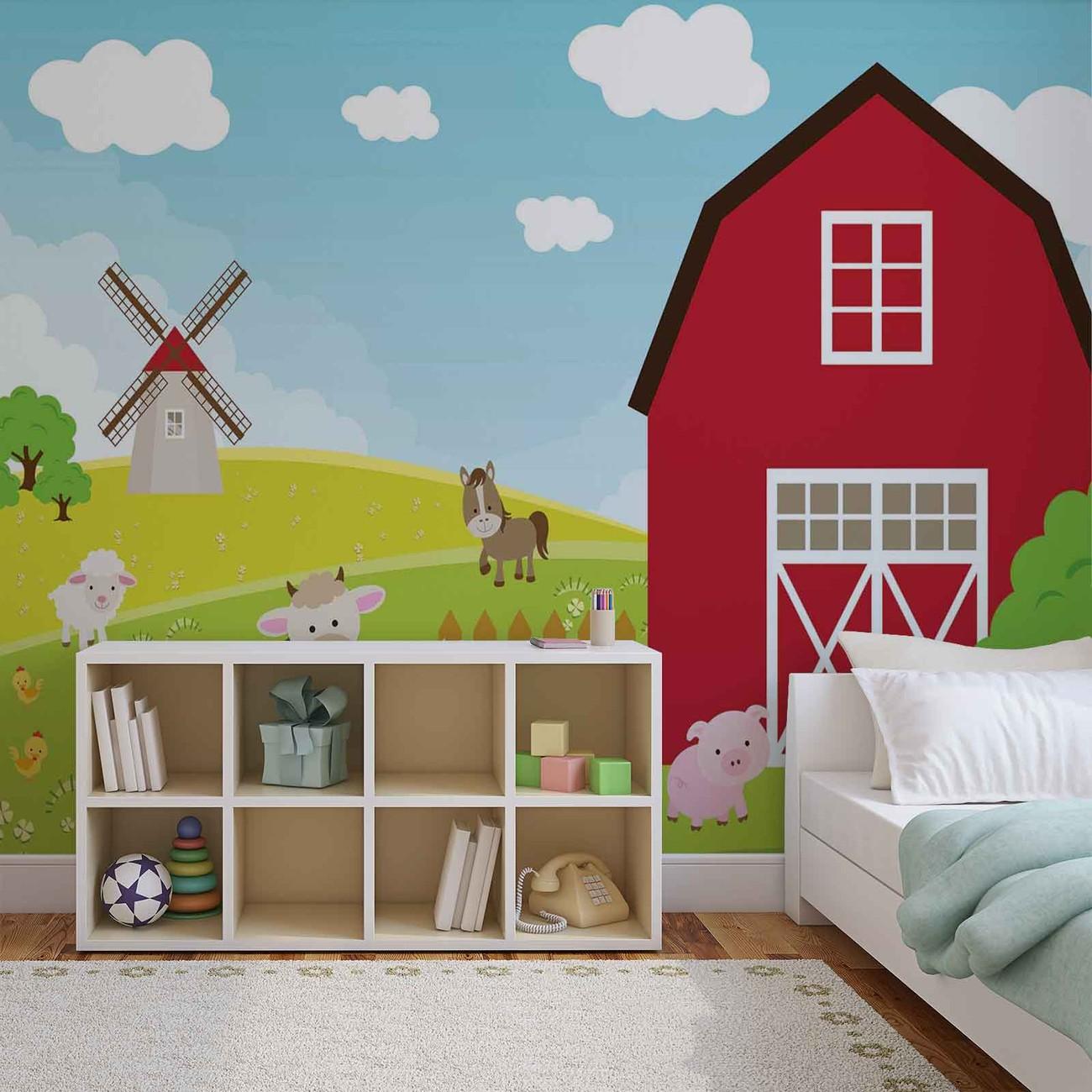 farm cartoon boys bedroom wall paper mural buy at. Black Bedroom Furniture Sets. Home Design Ideas