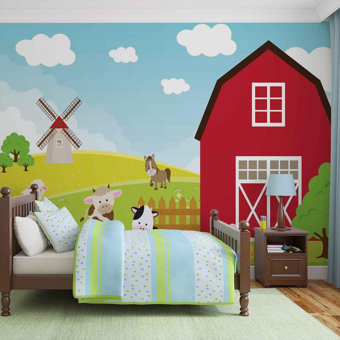 Farm cartoon boys bedroom wall paper mural buy at for Cartoon wall mural
