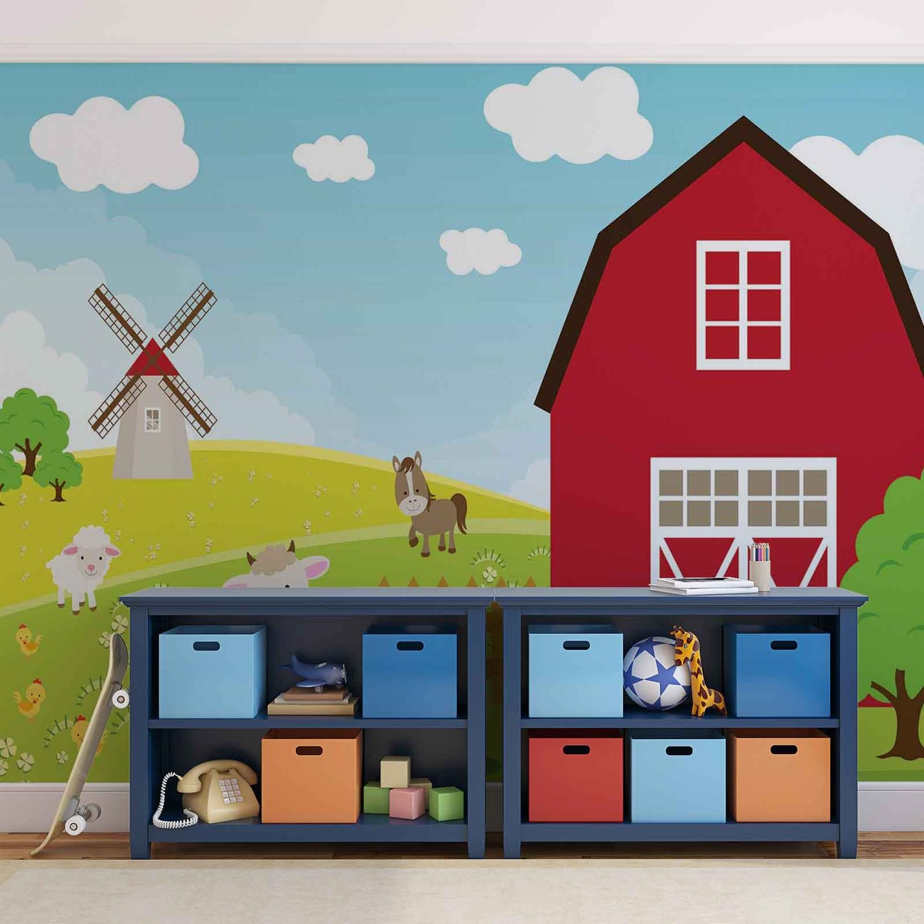 Farm cartoon boys bedroom wall paper mural buy at for Barnyard wall mural