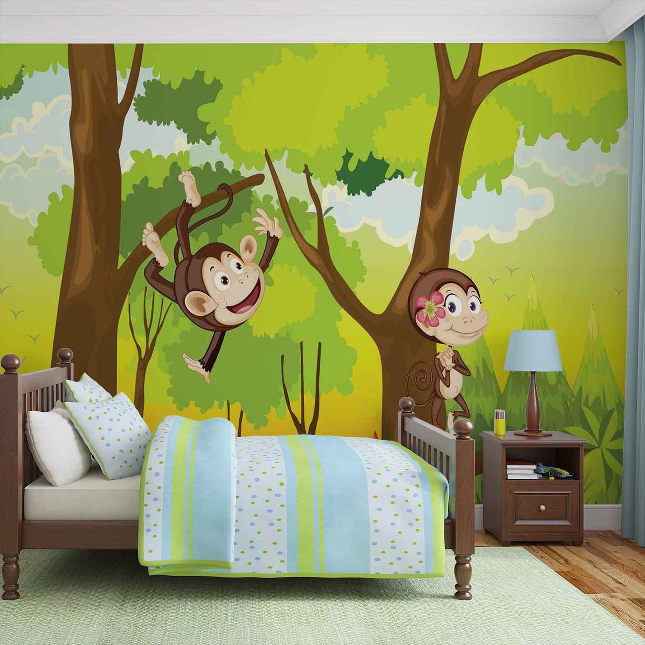 monkeys boys bedroom wall paper mural buy at europosters. Black Bedroom Furniture Sets. Home Design Ideas