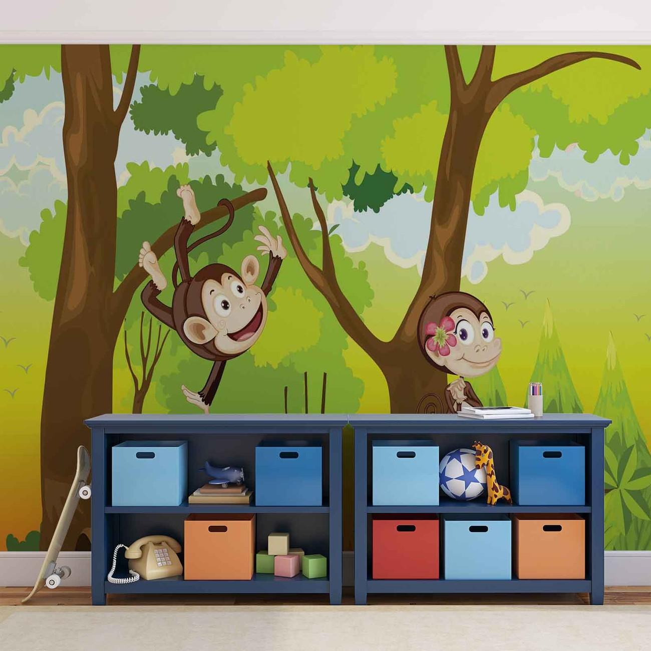chambre monkeys boys poster mural papier peint acheter le sur. Black Bedroom Furniture Sets. Home Design Ideas