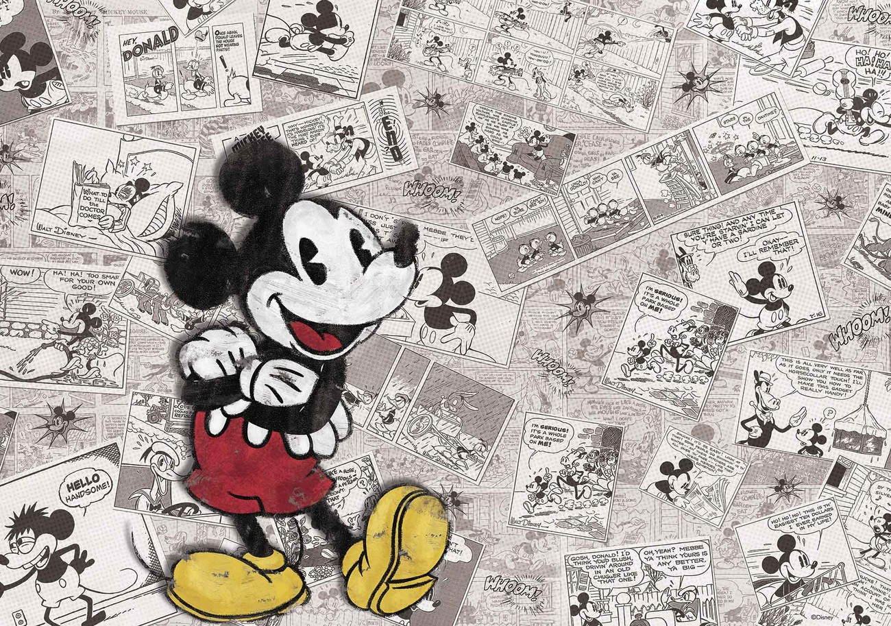 disney mickey mouse newsprint vintage wall paper mural