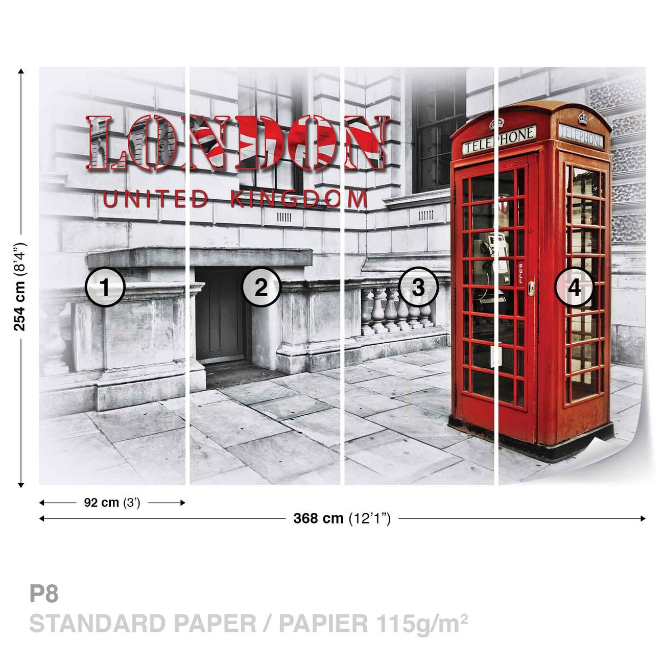city london telephone box red wall paper mural buy at. Black Bedroom Furniture Sets. Home Design Ideas