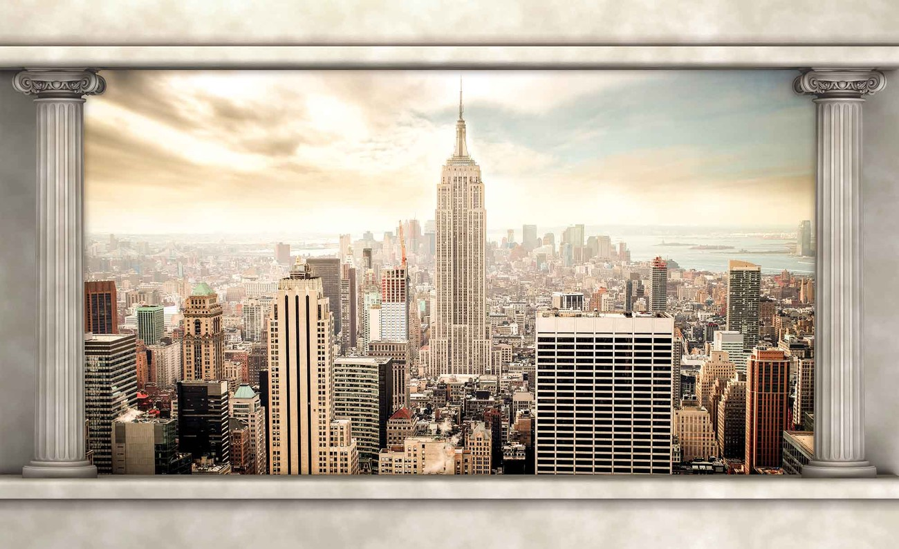 New york city view pillars wall paper mural buy at for Poster mural geant new york