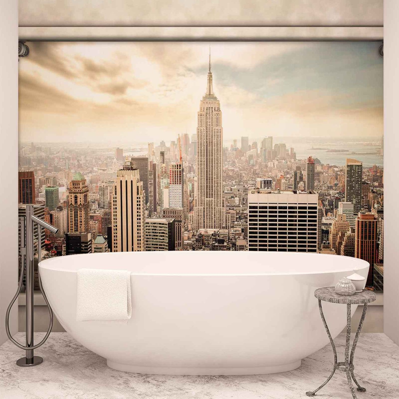 New york city view pillars wall paper mural buy at for Acheter poster mural new york