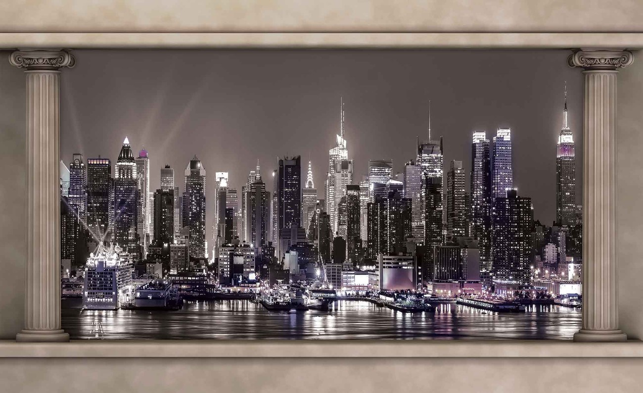 New York City Skyline Window View Wall Paper Mural Buy