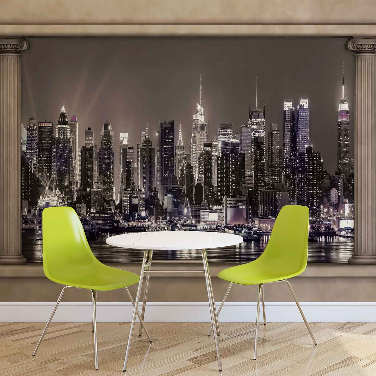New york city skyline window view wall paper mural buy for Cityscape wall mural