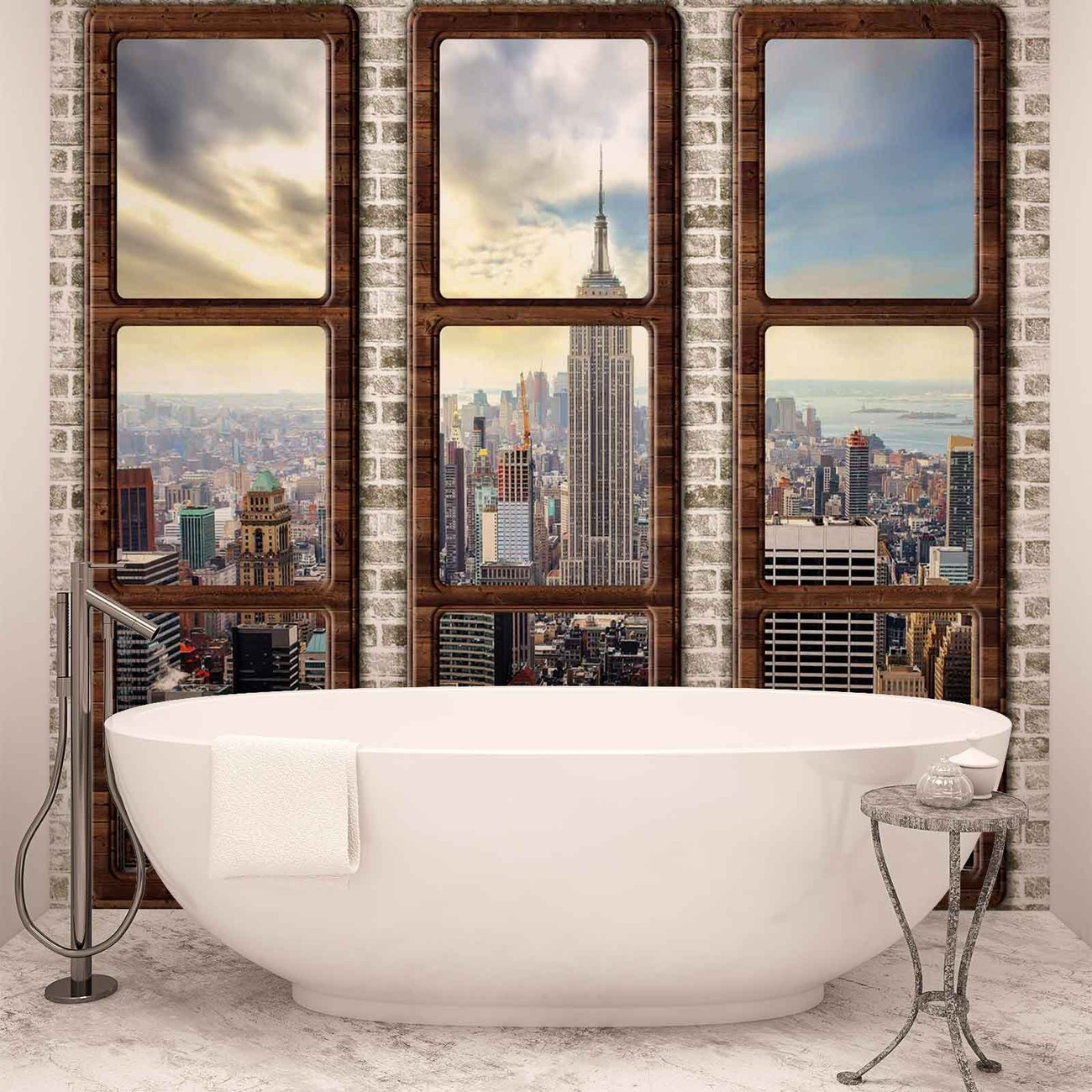 new york city skyline window view wall paper mural buy at europosters. Black Bedroom Furniture Sets. Home Design Ideas