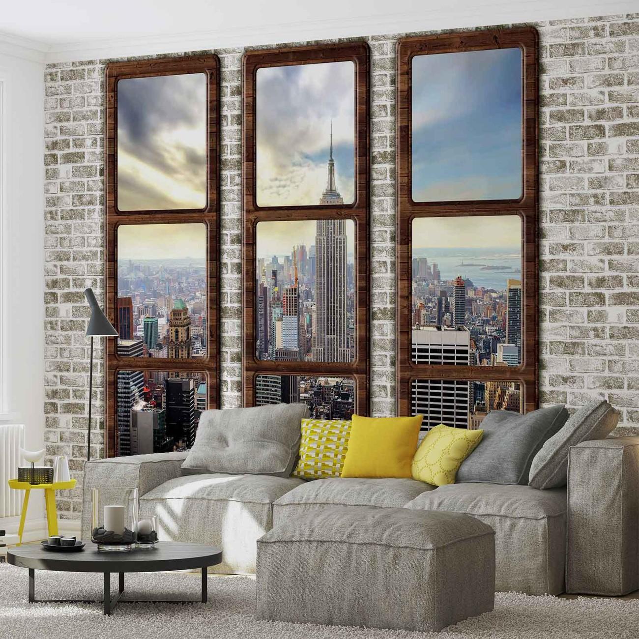 New York City Skyline Window View Wall Paper Mural