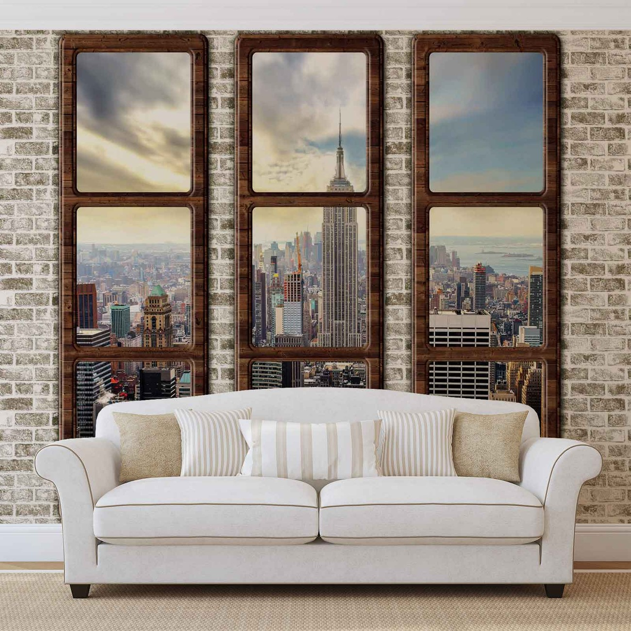 New york city skyline window view wall paper mural buy for Acheter poster mural new york