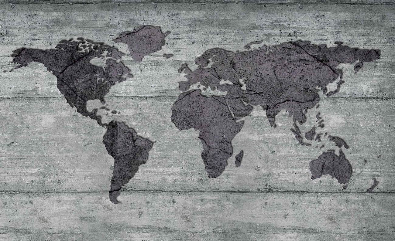 World map concrete texture wall paper mural buy at for Black and white world map wall mural