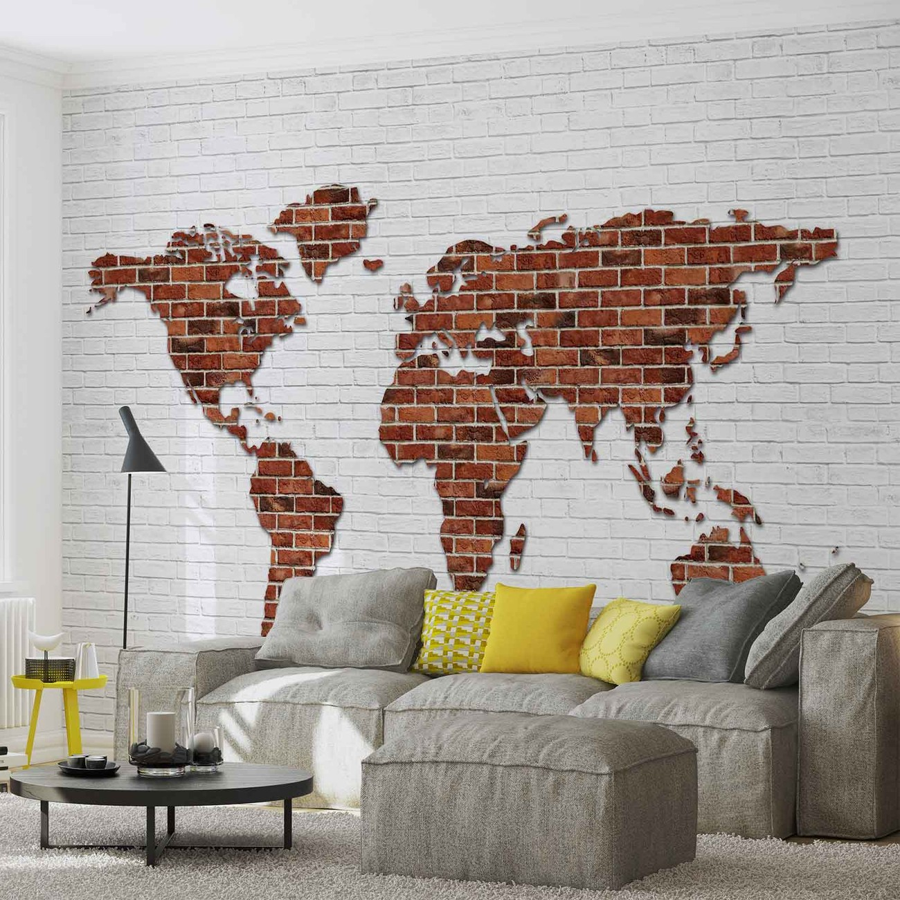 Brick wall world map wall paper mural buy at europosters for Brick wall decal mural