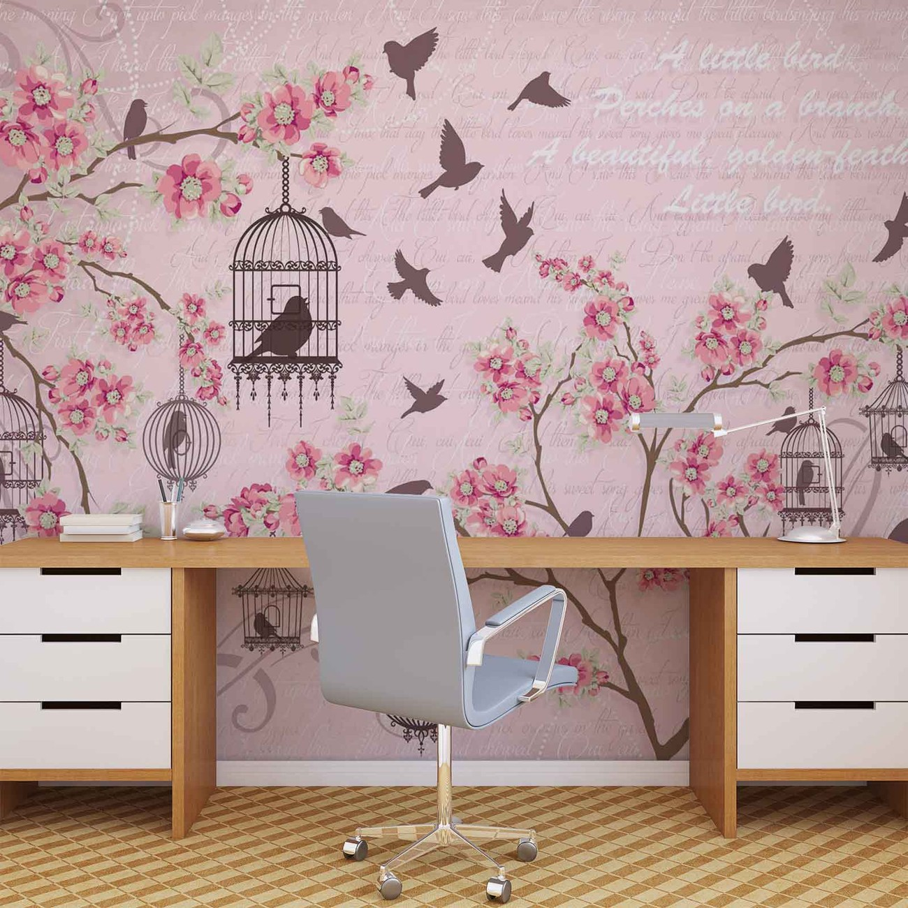 Birds cherry blossom pink wall paper mural buy at for Cherry blossom mural on walls