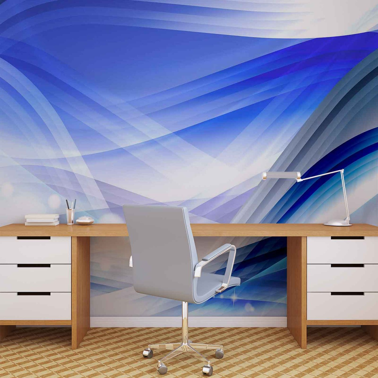 Abstract light pattern blue wall paper mural buy at for Mural lighting