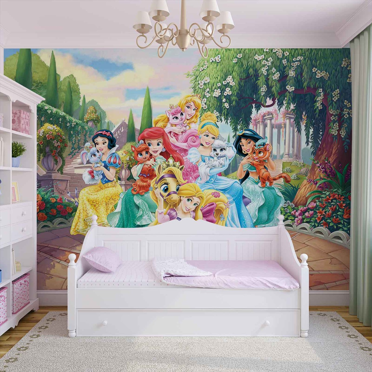 Disney princesses rapunzel ariel wall paper mural buy at for Disney princess wallpaper mural uk